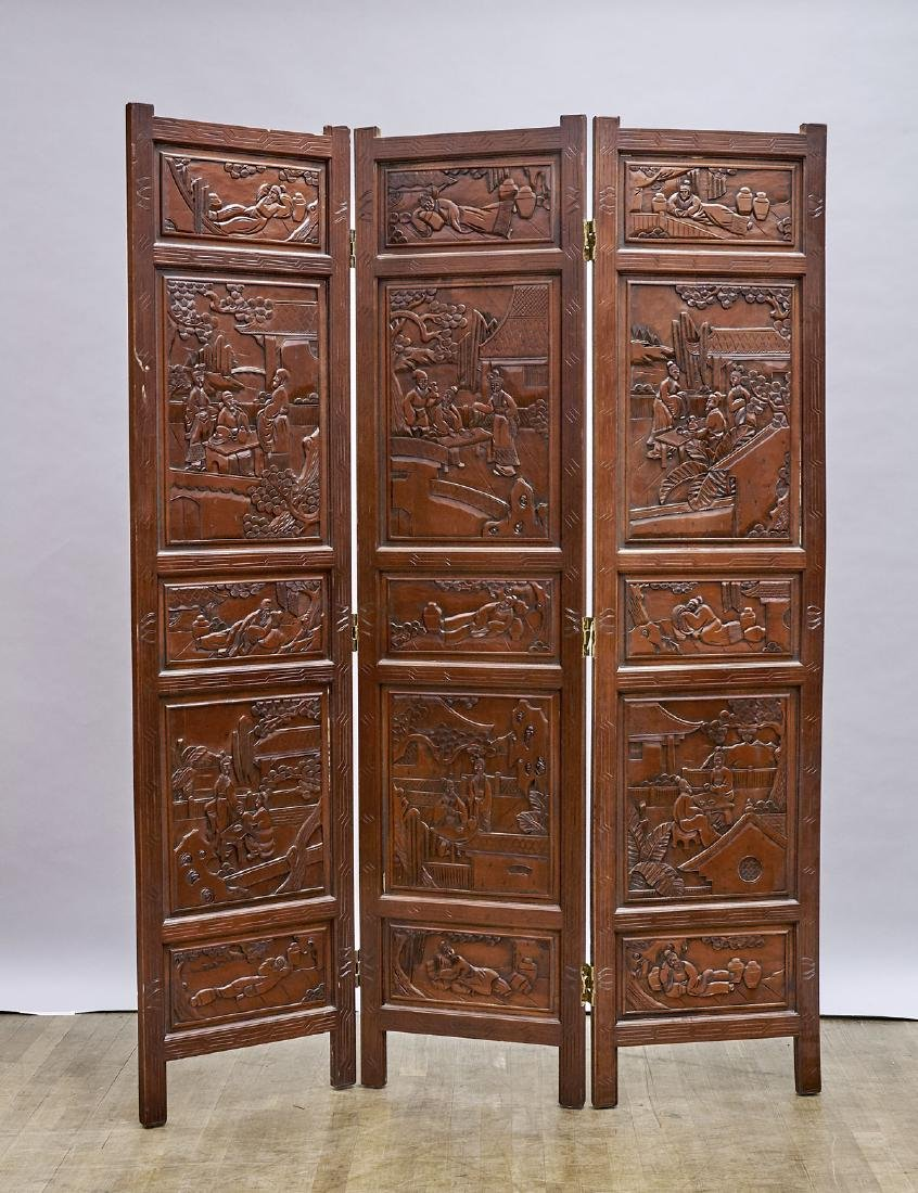 Pair Chinese Carved Wood Three-Panel Screens