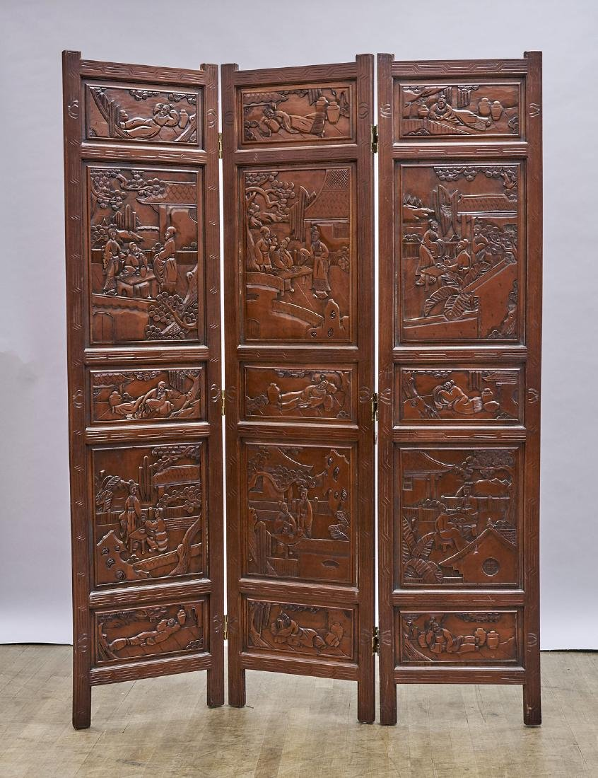 Pair Chinese Carved Wood Three-Panel Screens - 2