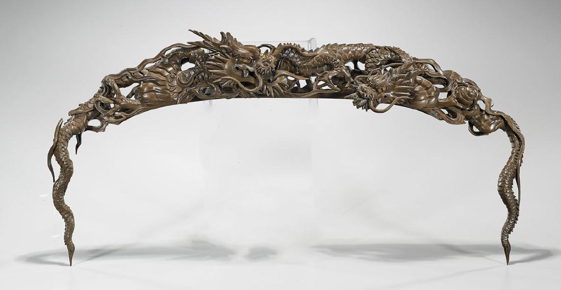 Japanese Carved Wood Dragon Ornament