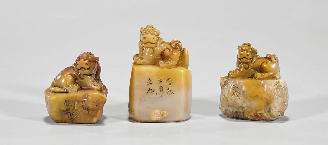 Group of Three Chinese Carved Shoushan Stone Seals