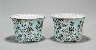 Pair Chinese Enameled Porcelain Jardinieres