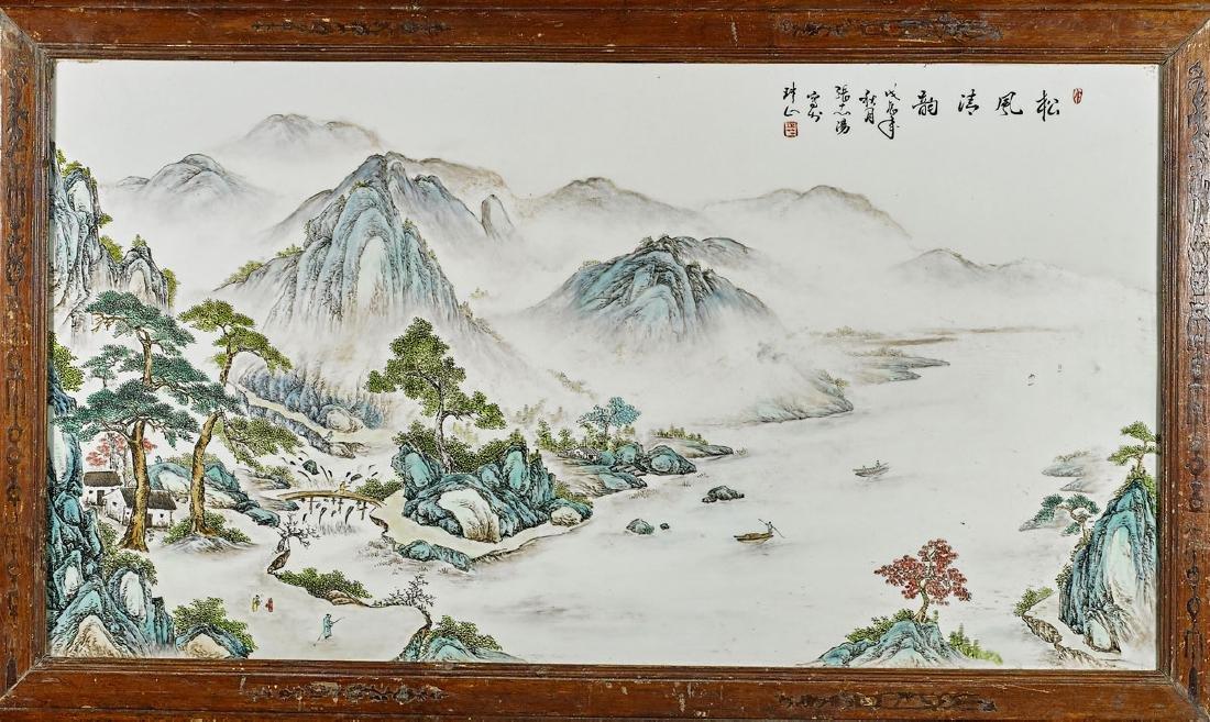 Large Chinese Enameled Porcelain Plaque