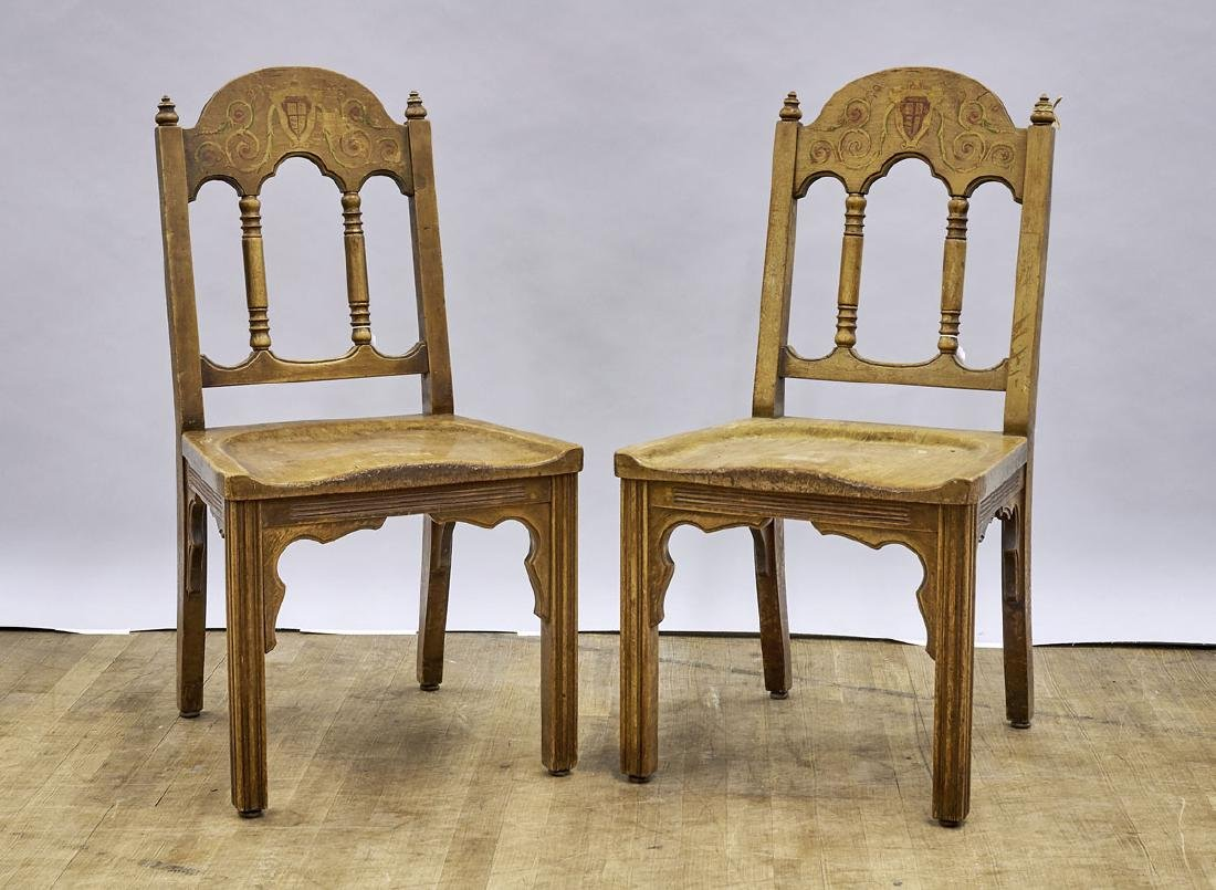 Pair Painted Wood Chairs