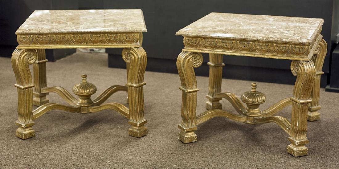 Pair Gilt Wood Side Tables