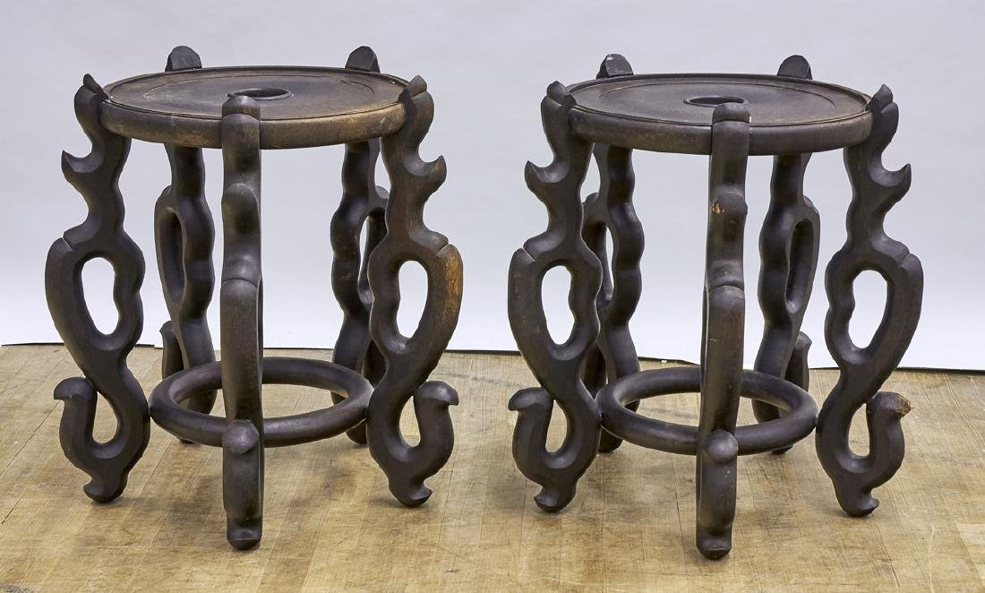 Pair Massive Chinese Carved Wood Stands