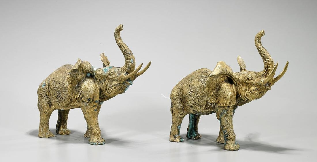 Pair Gilt Bronze Elephants