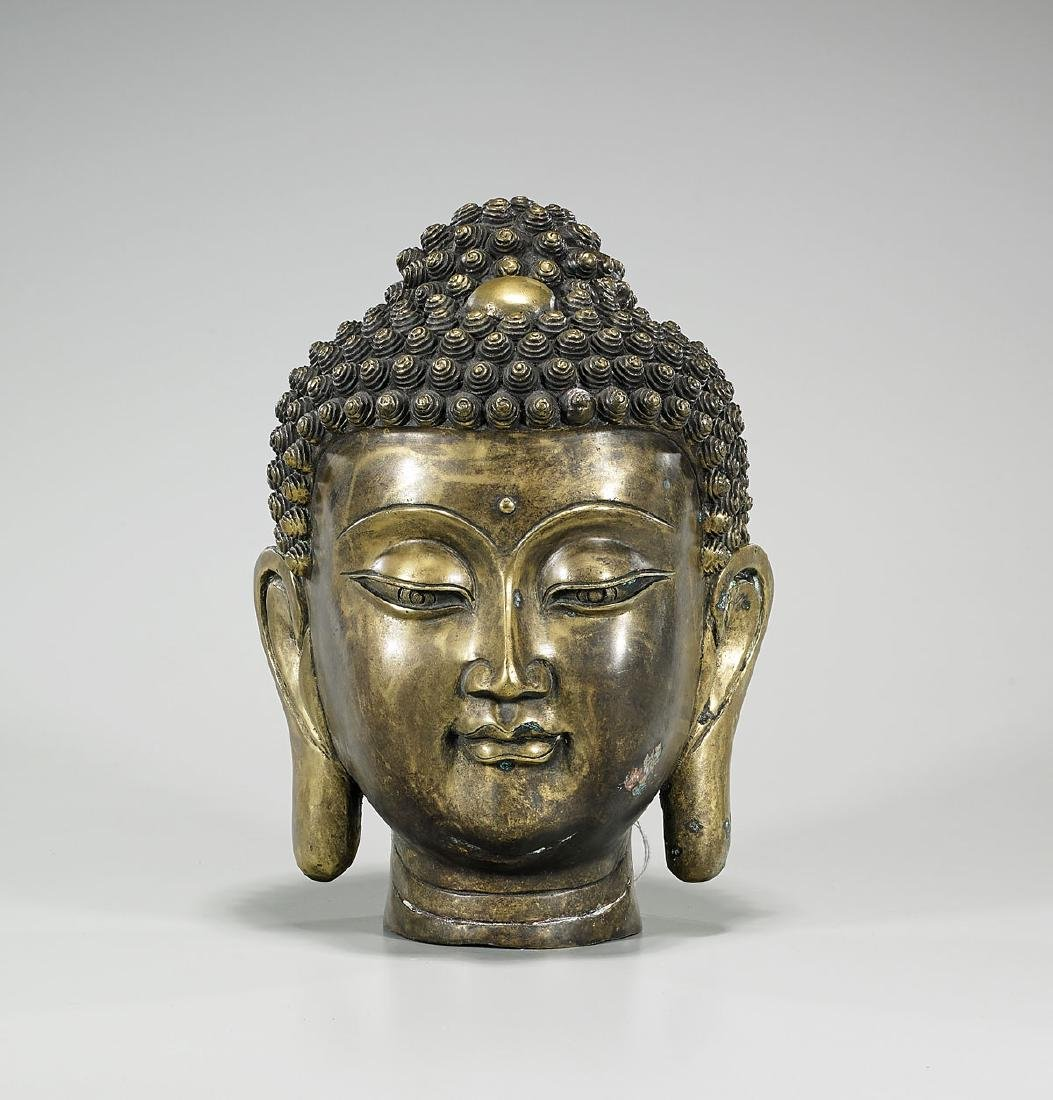Chinese Bronze Head of Buddha