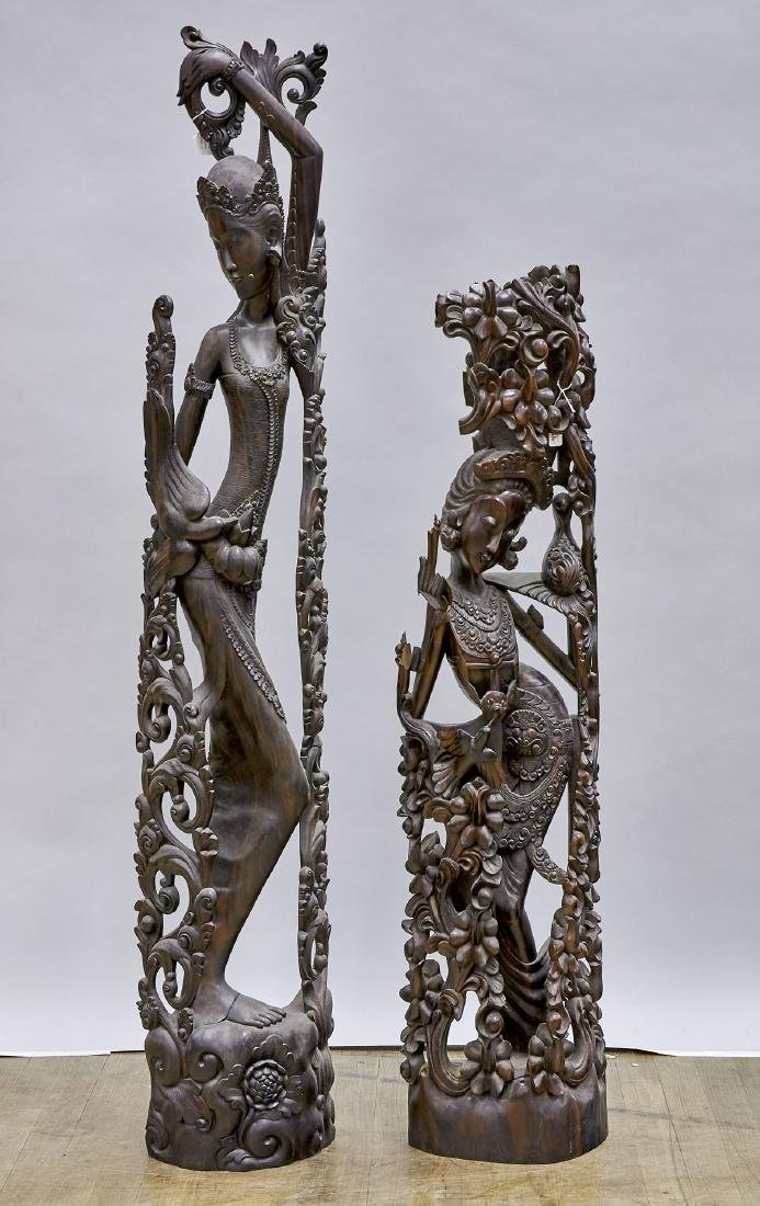 Two Tall Southeast Asian Carved Hardwood Figures