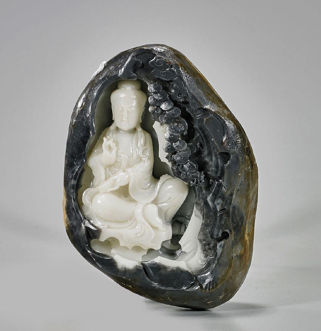Chinese Carved Hardstone Pebble
