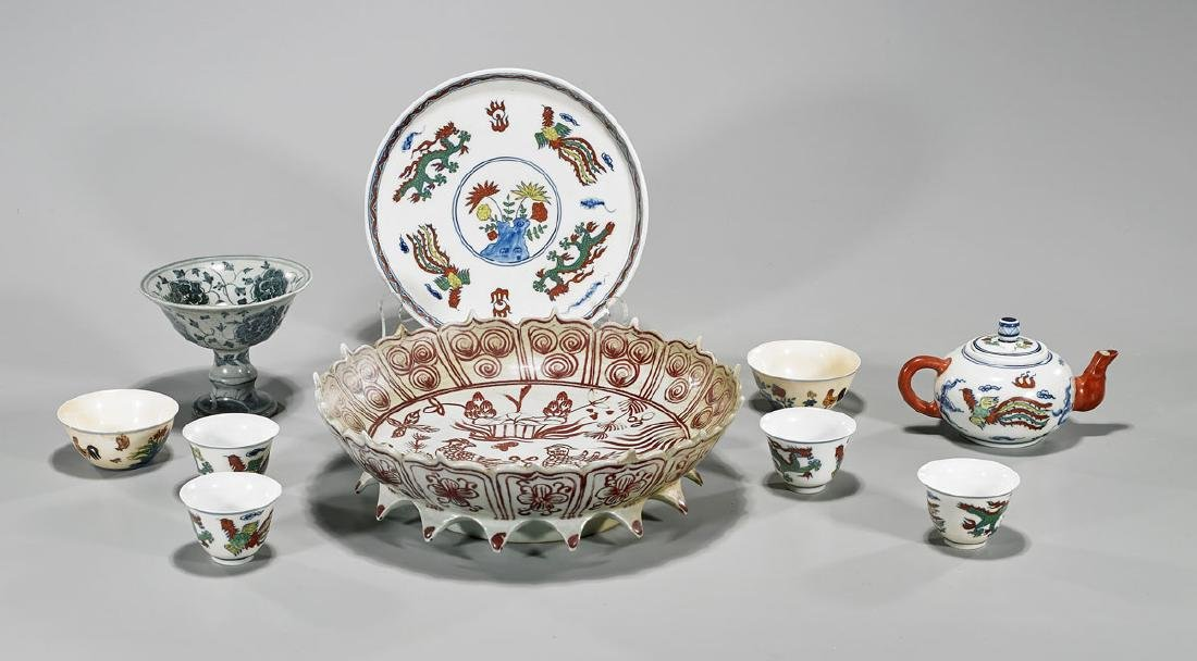Group of Ten Chinese Ming-Style Porcelains