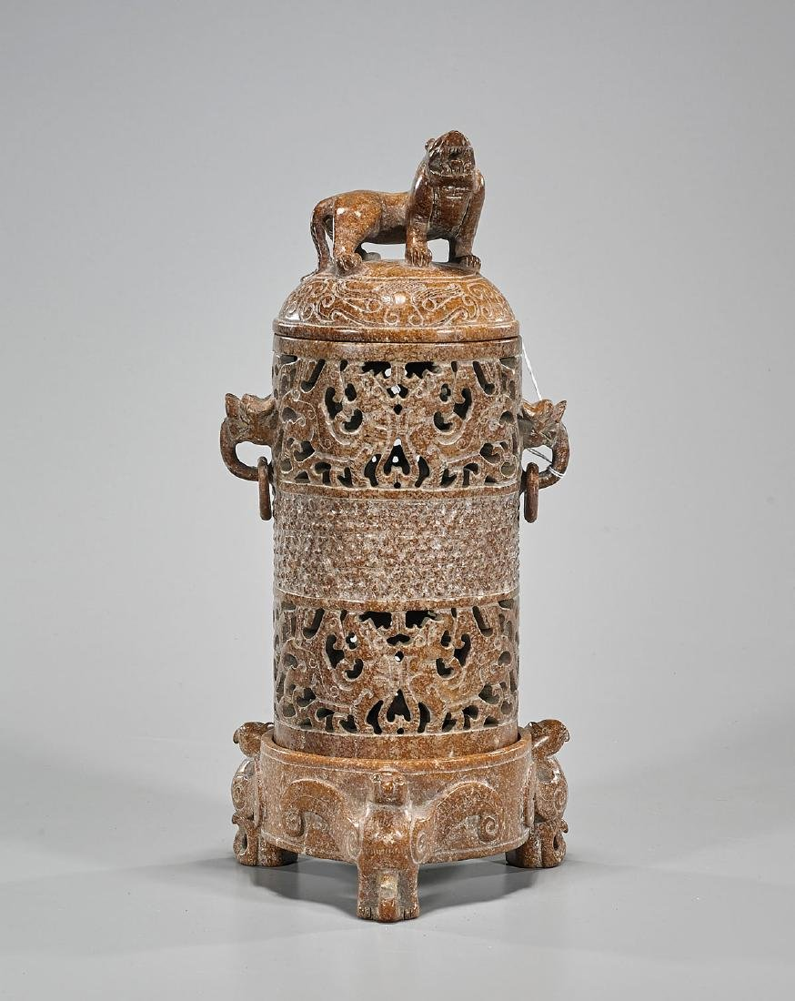 Elaborately Carved Chinese Hardstone Censer