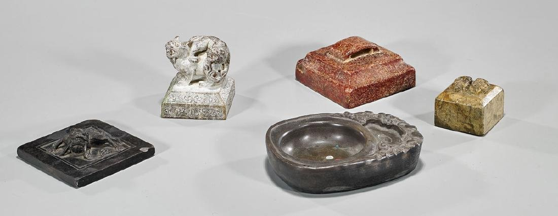 Group of Five Various Chinese Carved Hardstones