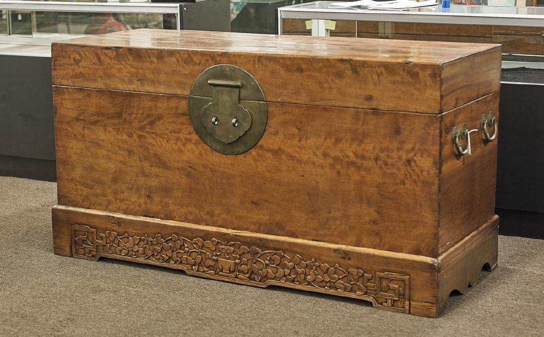 Large Chinese Wood Blanket Chest