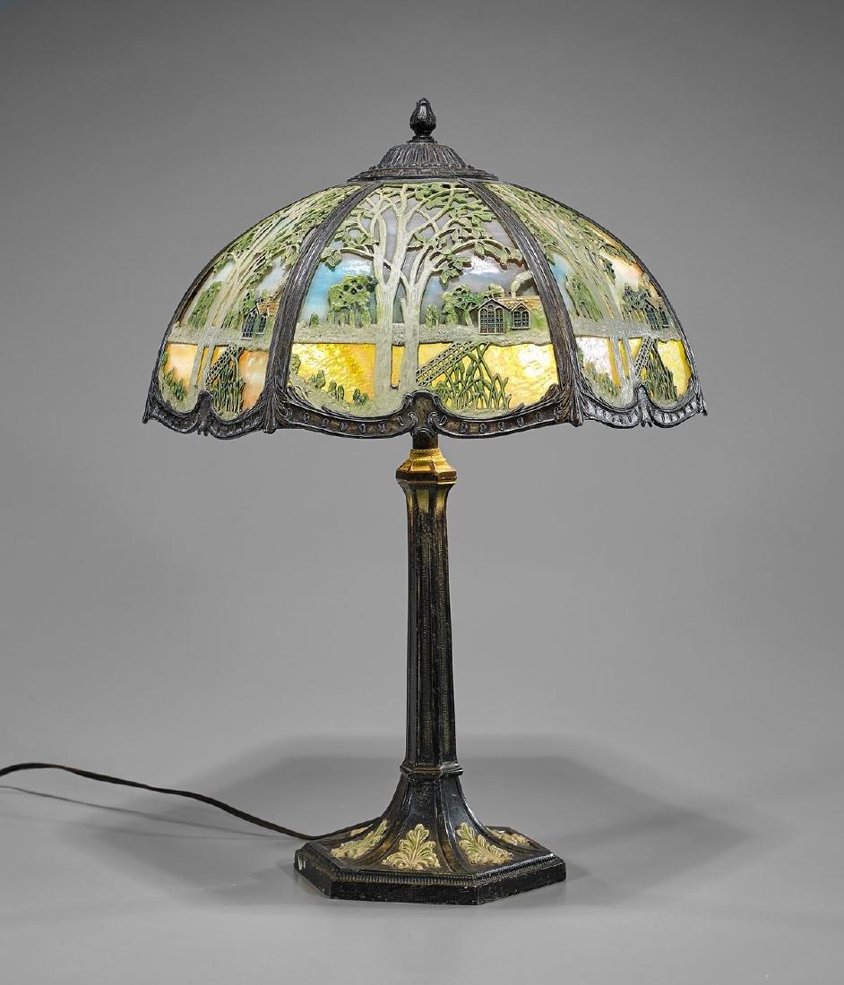 Leaded Glass & Bronze Lamp