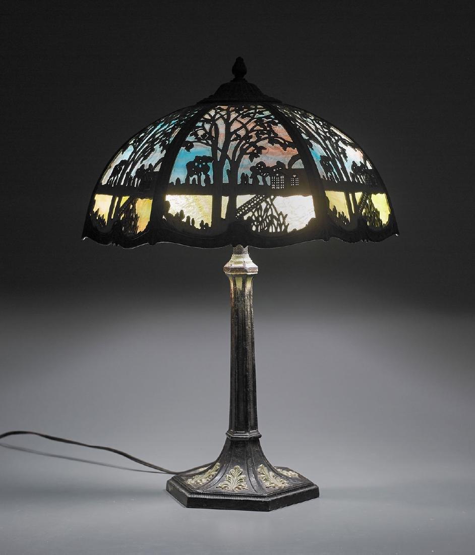 Leaded Glass & Bronze Lamp - 2