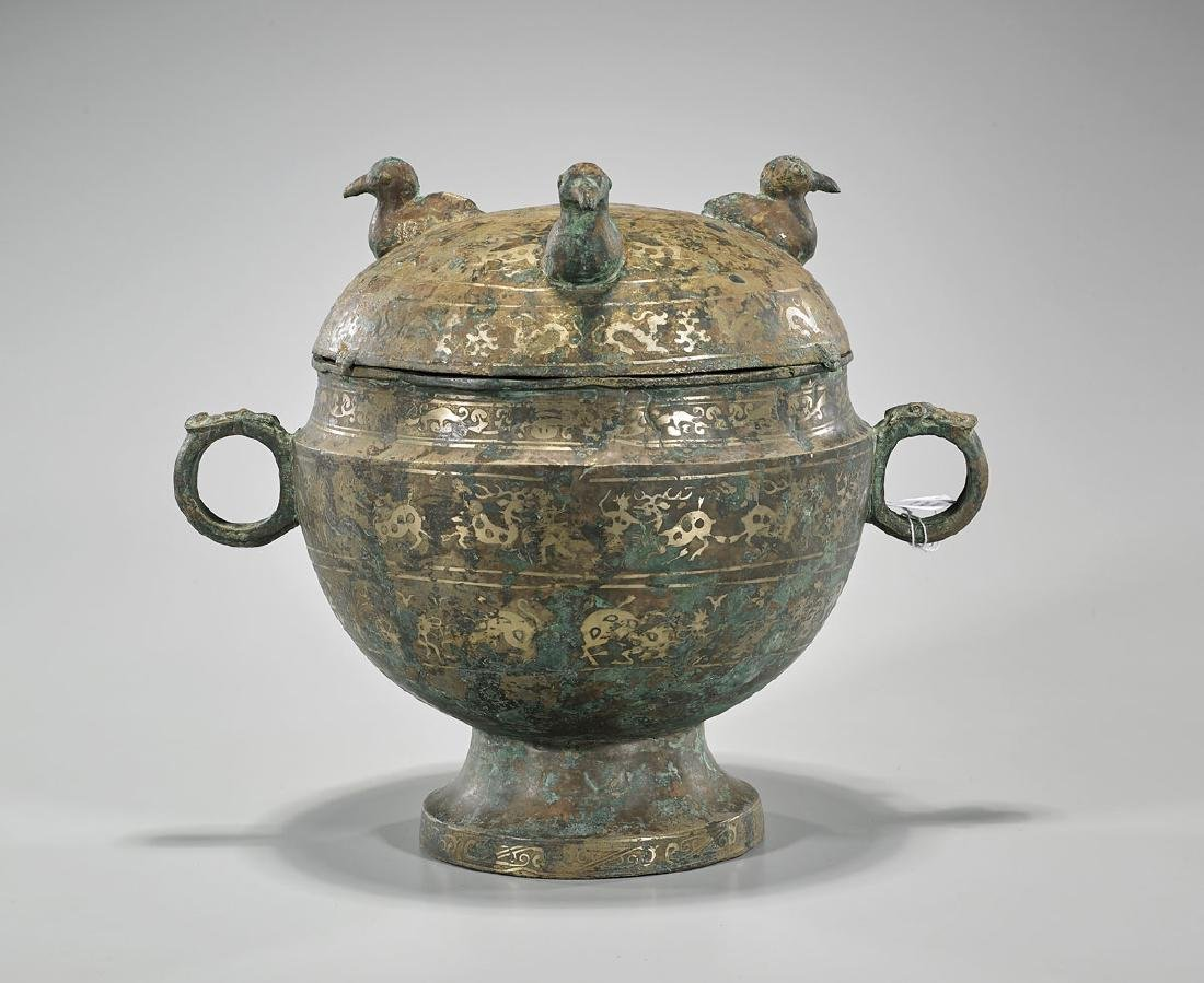 Archaistic Chinese Bronze Covered Vessel