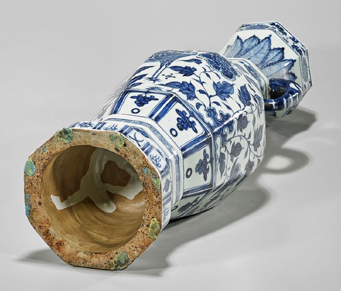 Tall Yuan-Style Blue & White Porcelain Vase - 3