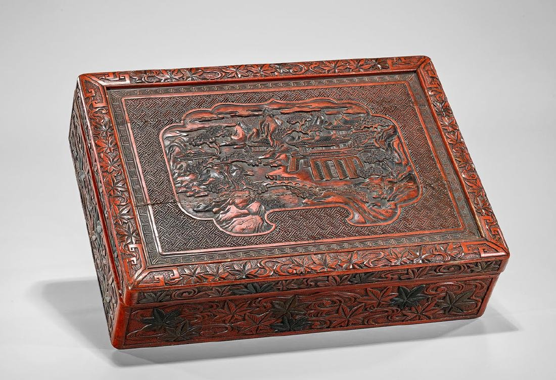 Large Chinese Cinnabar Lacquer Box - 2