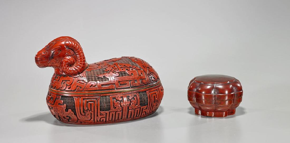 Two Chinese Red Lacquered Boxes