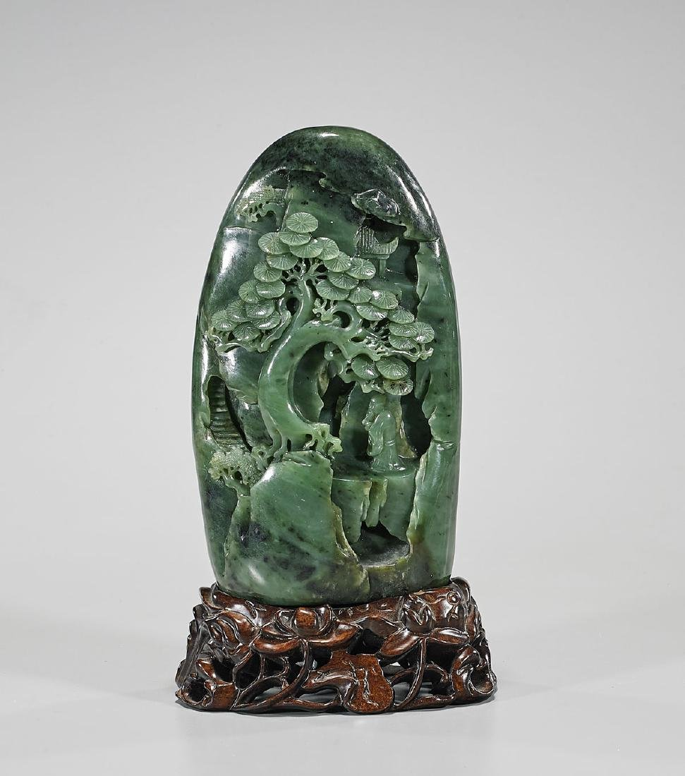 Chinese Carved Spinach Jade Mountain