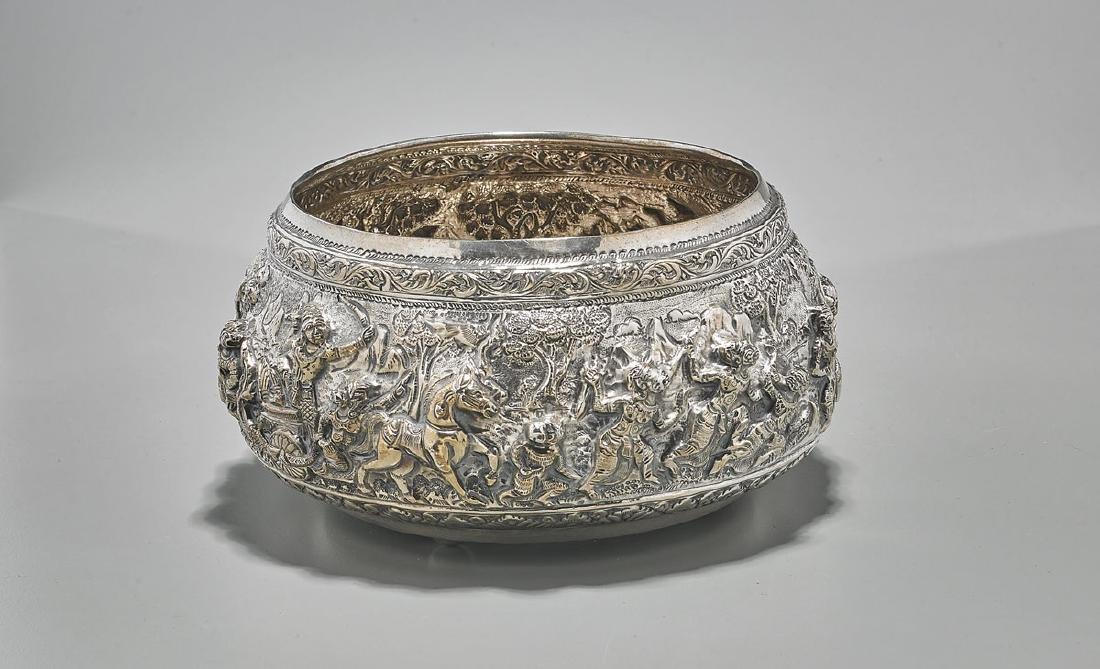 Burmese Repousse Silver Bowl