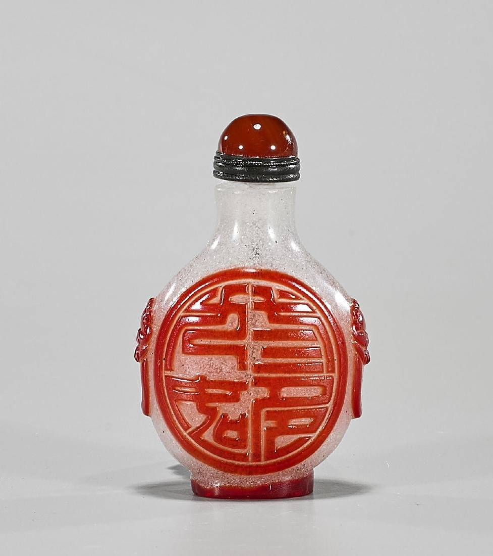 Chinese Red Overlay Snowflake Glass Snuff Bottle