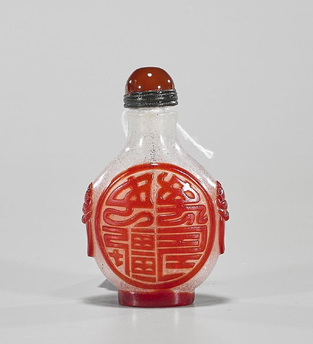 Chinese Red Overlay Snowflake Glass Snuff Bottle - 2
