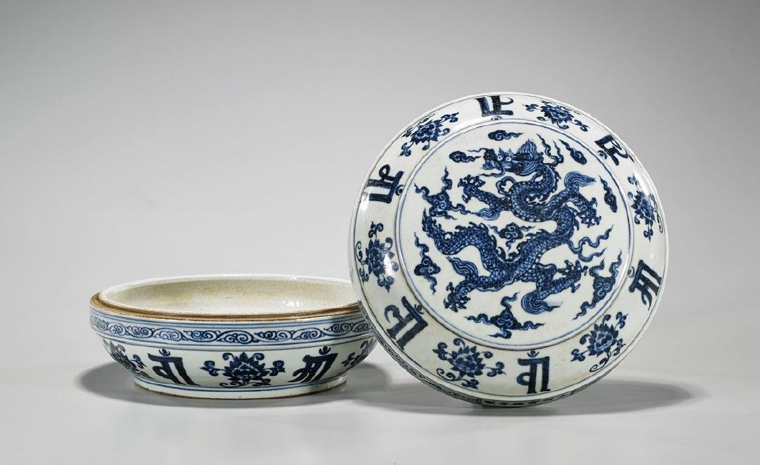 Chinese Ming-Style Blue & White Porcelain Box