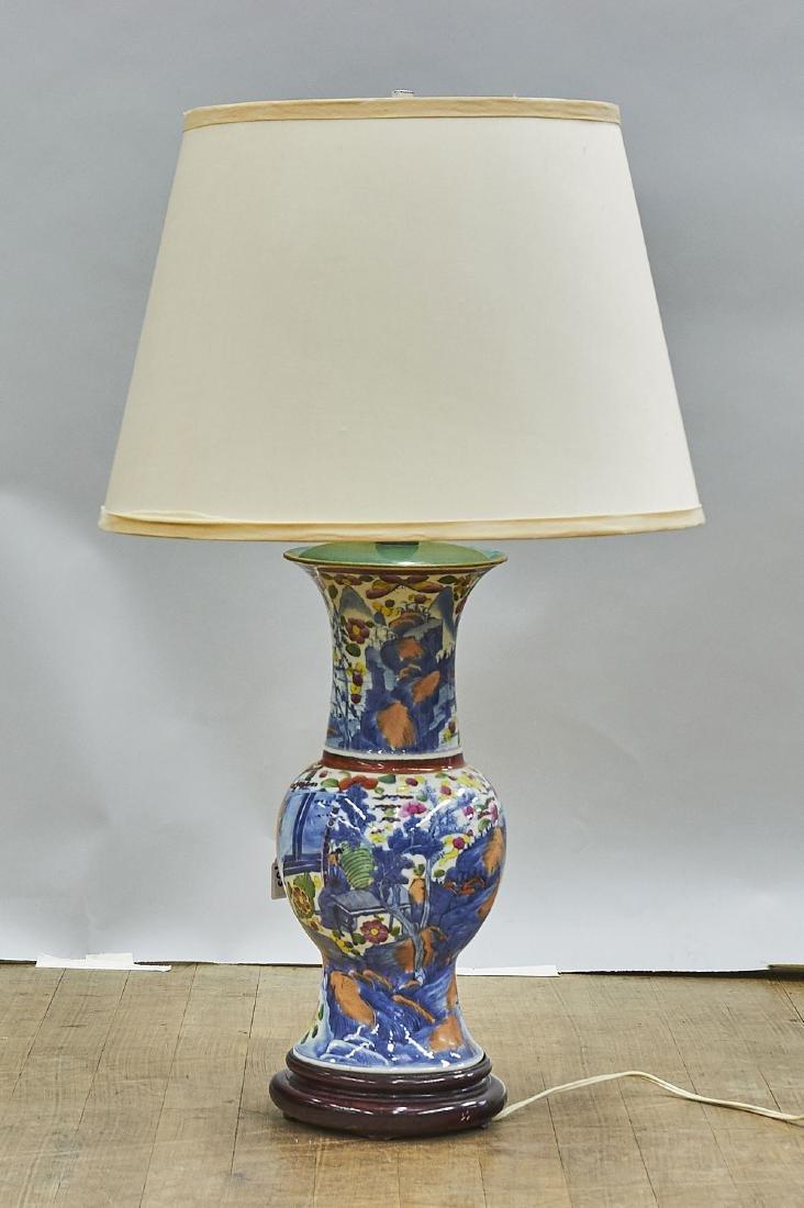 Chinese Enameled Porcelain Vase/Lamp