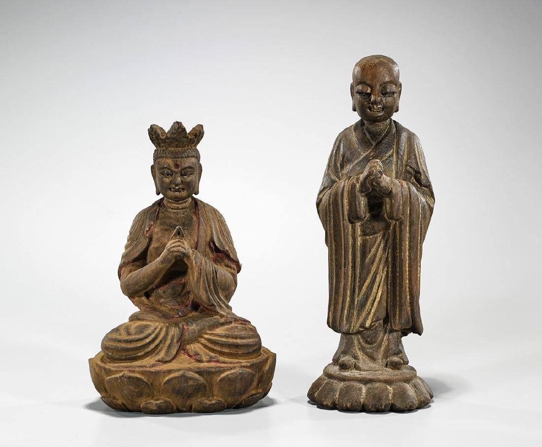 Two Chinese Carved Wood Figures
