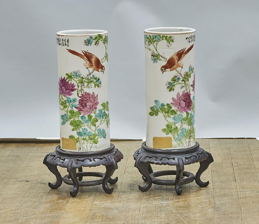 Pair Antique Chinese Enameled Porcelain Hat Stands