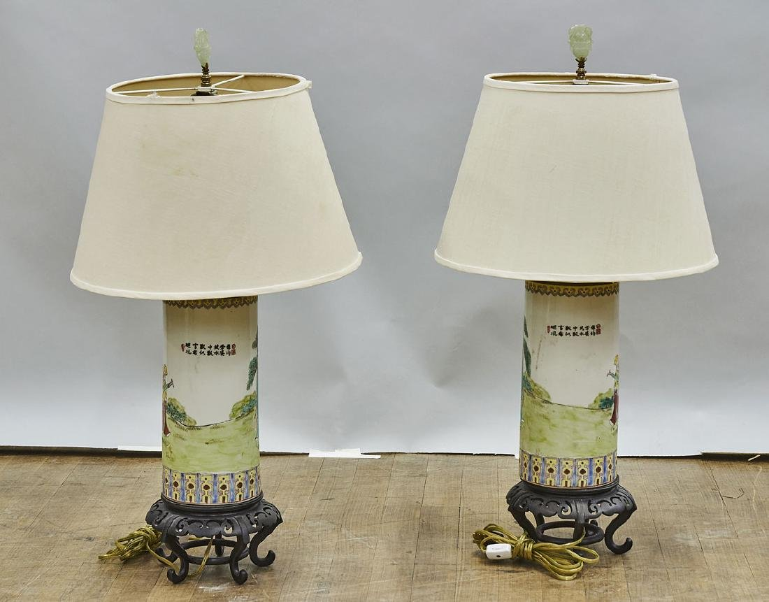 Pair Chinese Enameled Porcelain Hat Stands/Lamps - 2