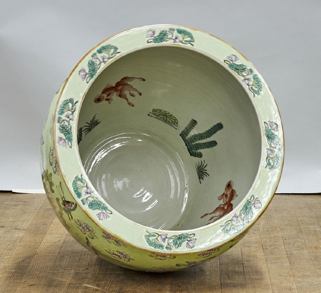 Large Chinese Enameled Porcelain Fish Bowl - 2