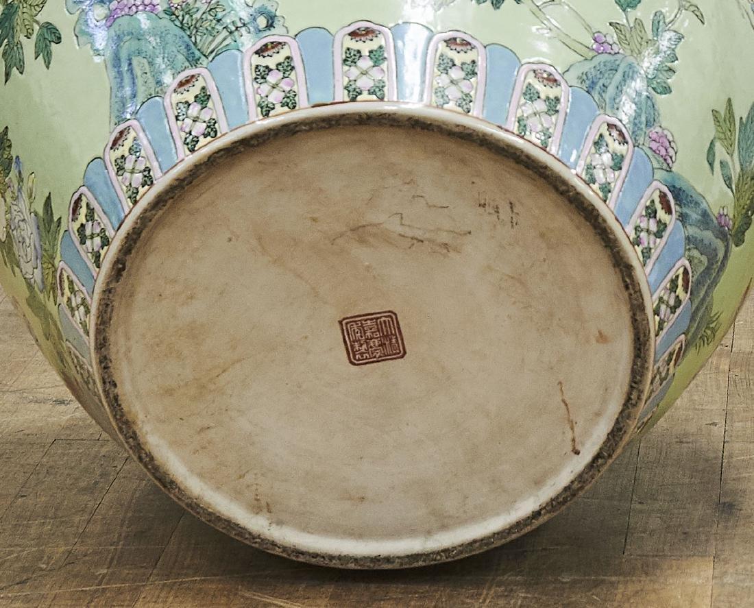 Large Chinese Enameled Porcelain Fish Bowl - 3