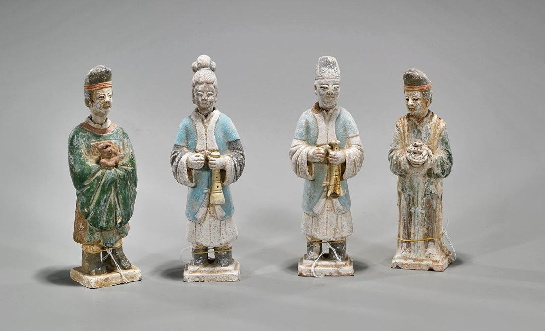 Group of Four Chinese Ming-Style Glazed Figures