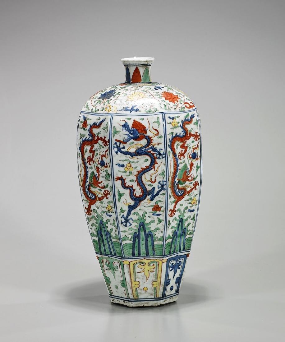 Chinese Wucai Enameled Porcelain Vase