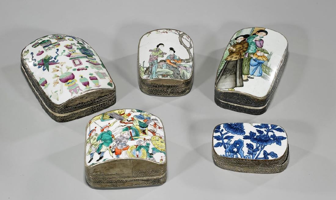 Group of Five Chinese Porcelain & Metal Boxes