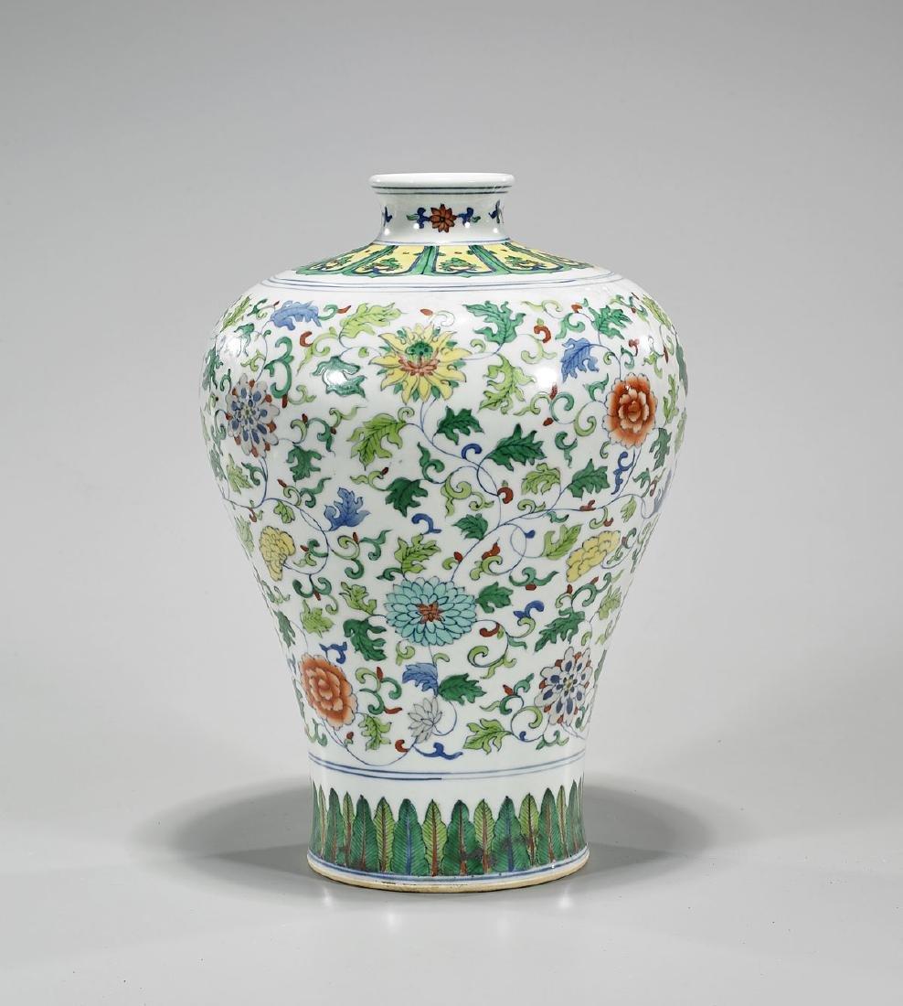 Chinese Doucai Enameled Porcelain Vase