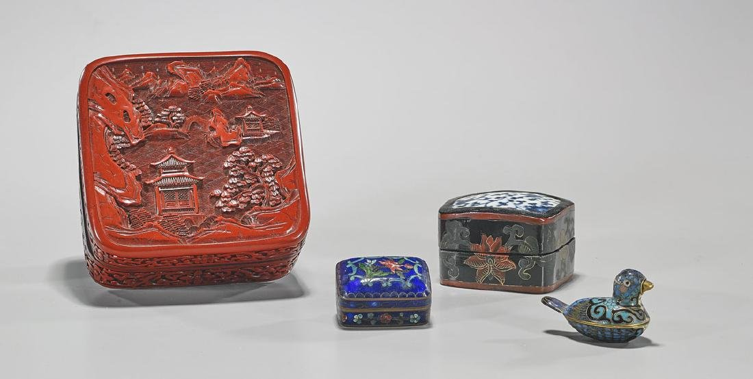 Group of Four Chinese Covered Boxes