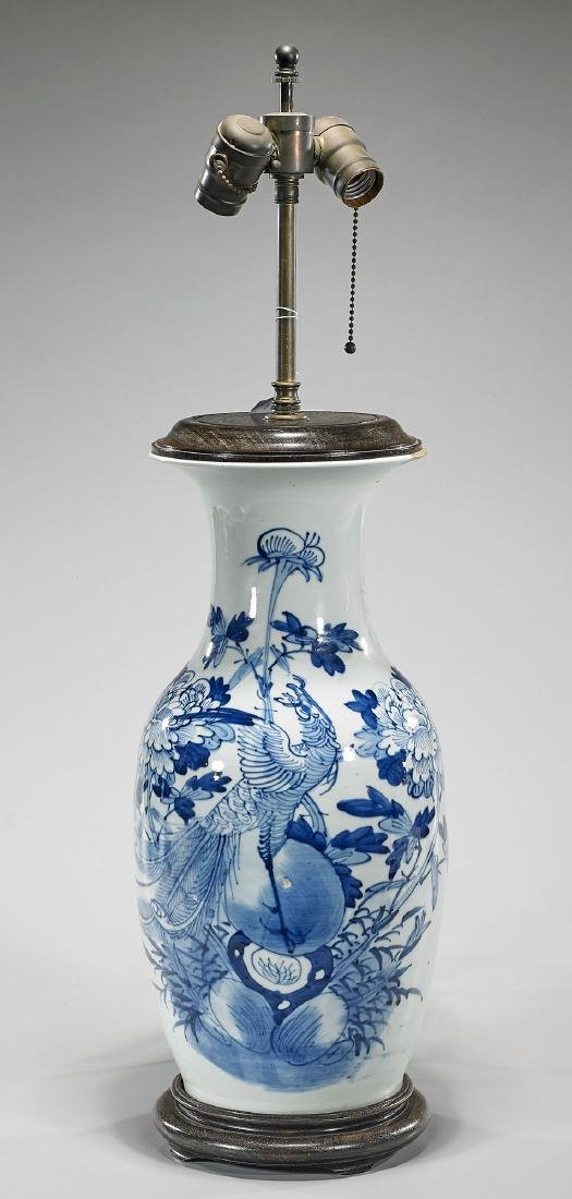 Antique Chinese Blue & White Porcelain Vase/Lamp
