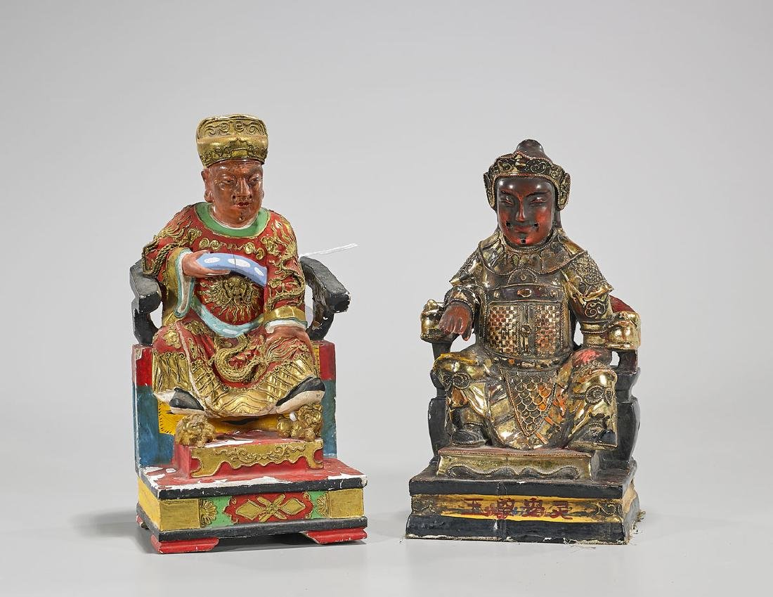 Two Chinese Carved & Gilt Wood Seated Figures