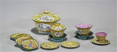 Group of Thirteen Antique Chinese Enamel on Copper