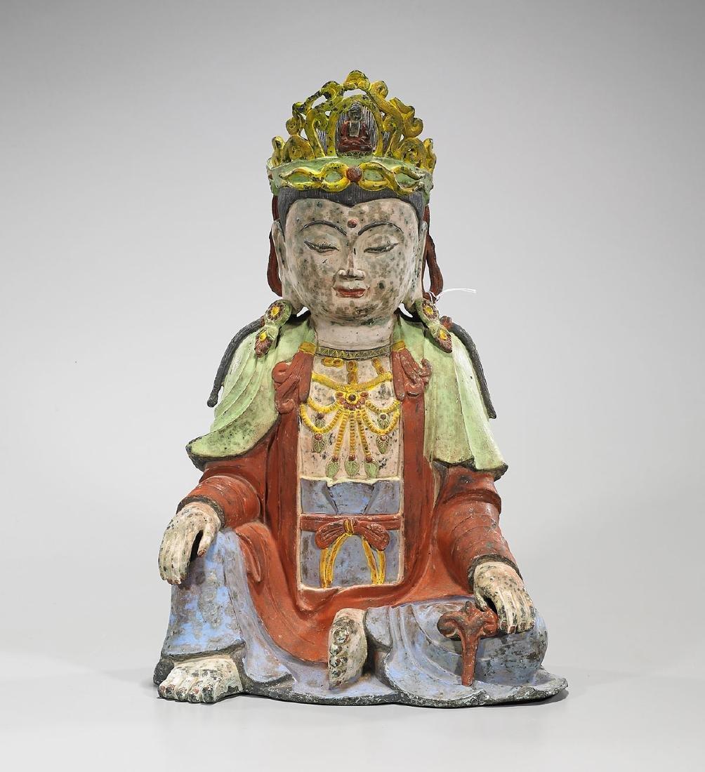 Chinese Polychrome Bronze Figure of Buddha
