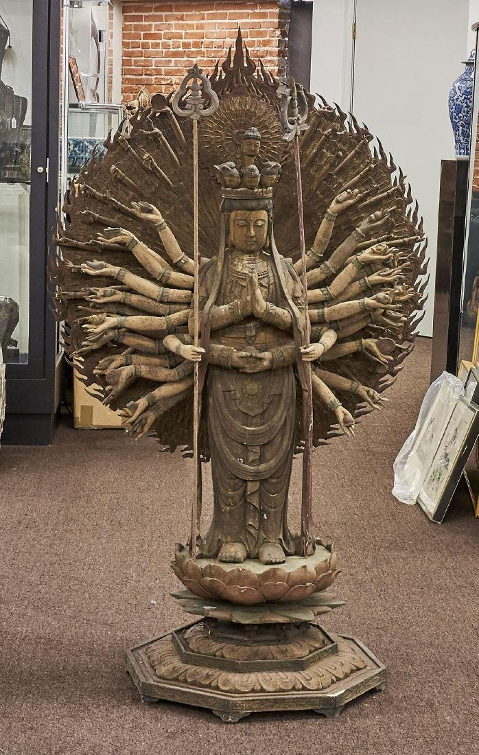 Tall Chinese Carved Wood Bodhisattva