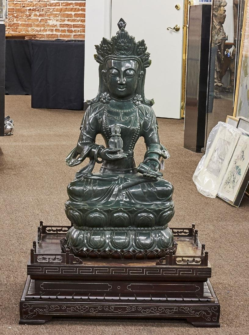 Massive Chinese Carved Spinach Jade Figure of Guanyin