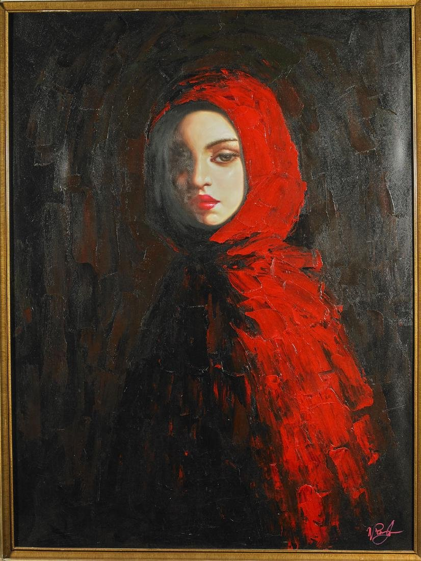 Large Oil on Canvas Portrait Painting