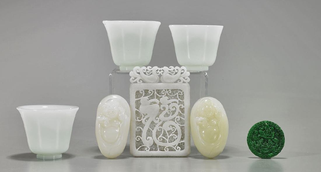 Group of Seven Various Chinese Carved Stone & Glass