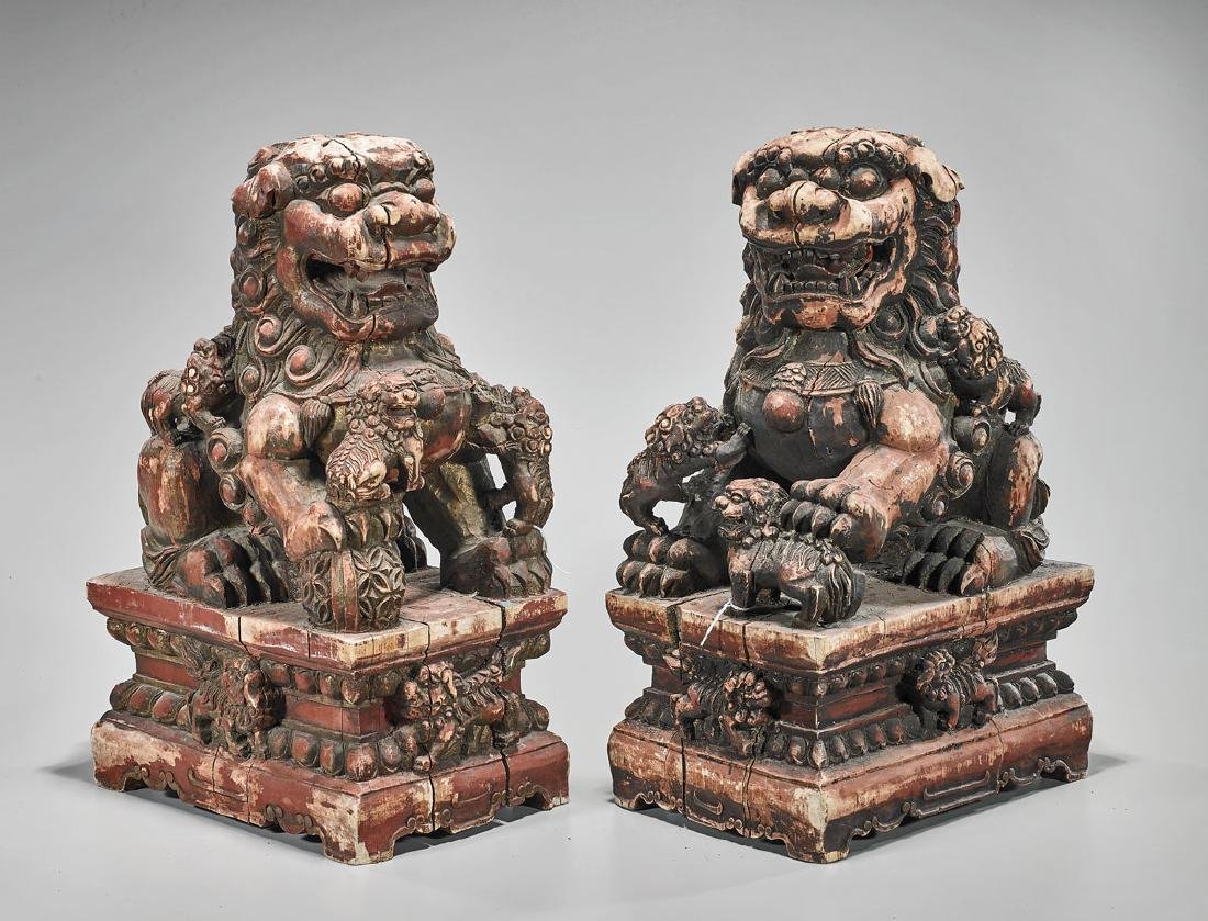 Pair Antique Chinese Carved Wood Fo Lions