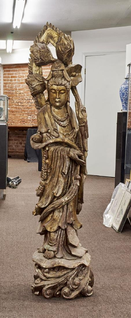 Tall Chinese Carved & Gilt Wood Figure of Guanyin