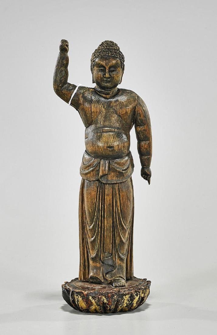 Chinese Carved Wood Figure of Buddha